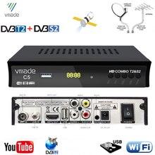 Vmade Combo DVB T2 recibidor de satélite Digital, H.264, compatible con Youtube, M3U, Biss Key, decodificador de señal HD