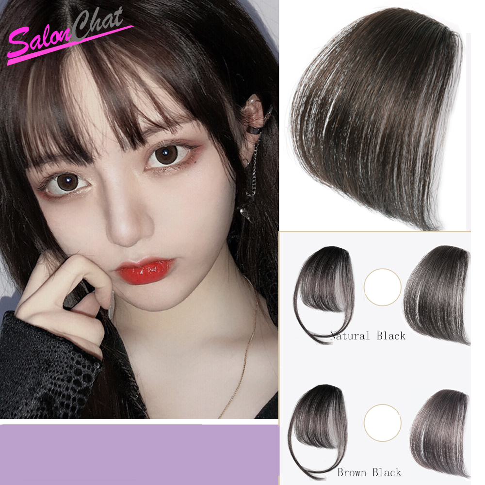 Salonchat Straight Clip-in Human Blunt Bangs Sweeping Side Bangs Front Hair Fringes 100% Remy Human Hair Black Brown Blond Red