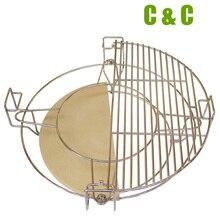Grau superior dividir e conquistar sistema de cozimento for18 polegada kamado redonda alta qualidade acessórios da grade para churrasco