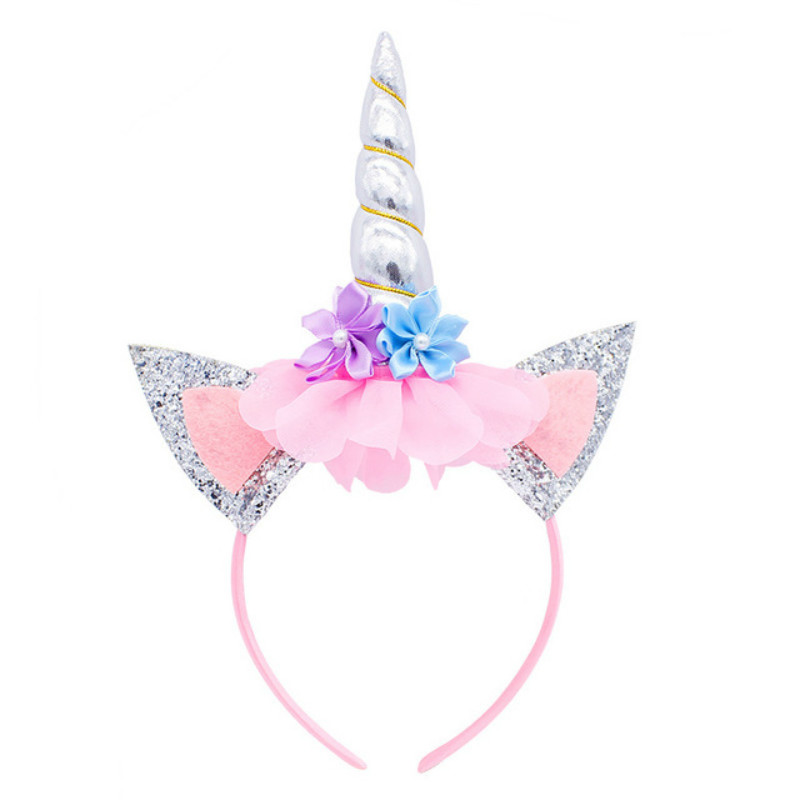 New Unicorn Headband Cute Kids Women Sweet Flower Unicorn Horn Hair Band Birthday Party Flower Floral Crown   Headwear