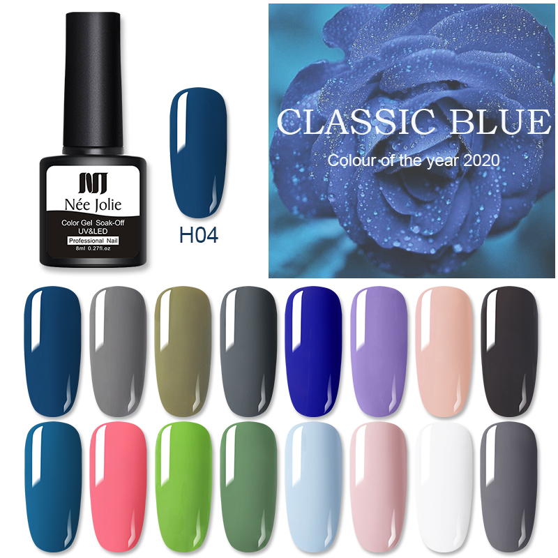 NEE JOLIE 8ml Solid Color Gel Nail Polish Matting Top Coat Blue Series UV Gel Soak Off Nail Gel Varnish One-shot Color Nail Art