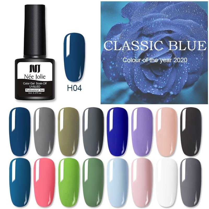 NEE JOLIE 8ml Solid Color Gel Nail Polish Matting Top Coat Blue Series UV Gel Soak Off Nail Gel Varnish One-shot Color Nail Art