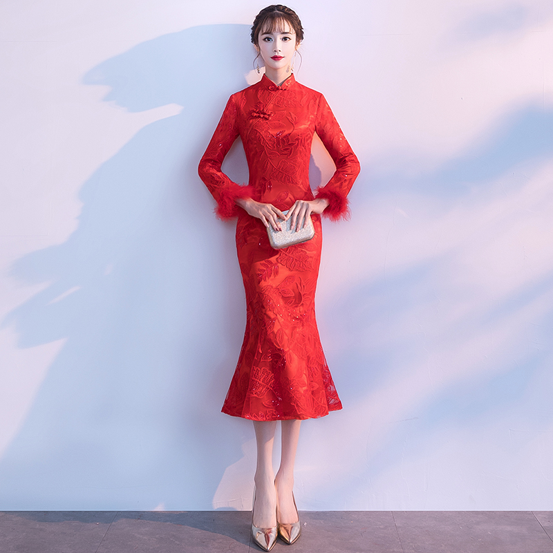 Lady Sexy Slim Mermaid Qipao Novelty Full Sleeve Cheongsam Elegant Fishtail Gown Autumn Winter New Chinese Wedding Dress