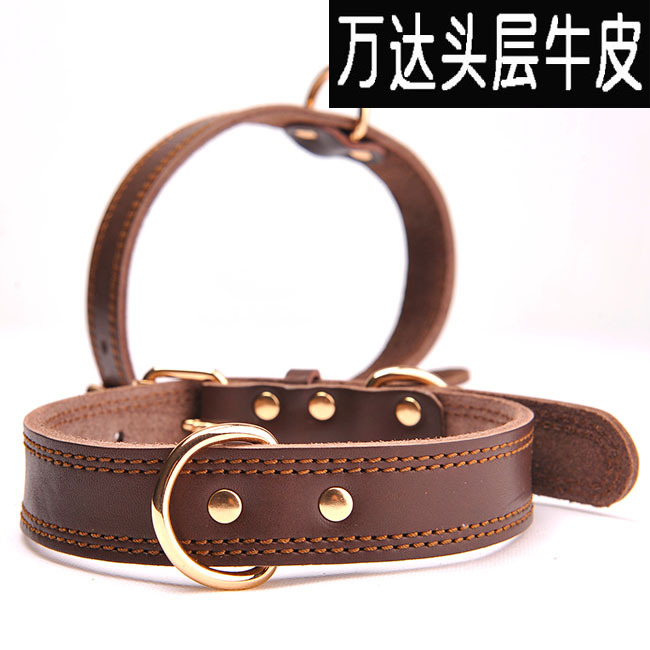 Soft First Layer Oil Skin Genuine Leather Dog Neck Ring Pet Collar Tag Name Will Have Different
