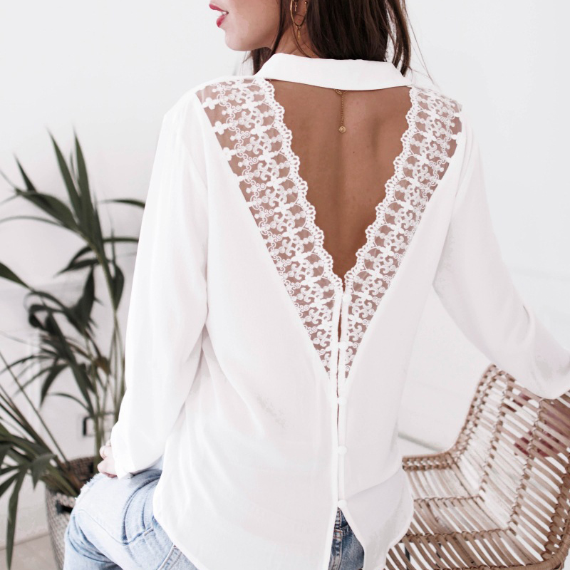 Fashion Shirts Womens Lace Tops and Blouses Office Lady Long Sleeve V Neck Harajuku Shirt Lace chemise Women Blouses