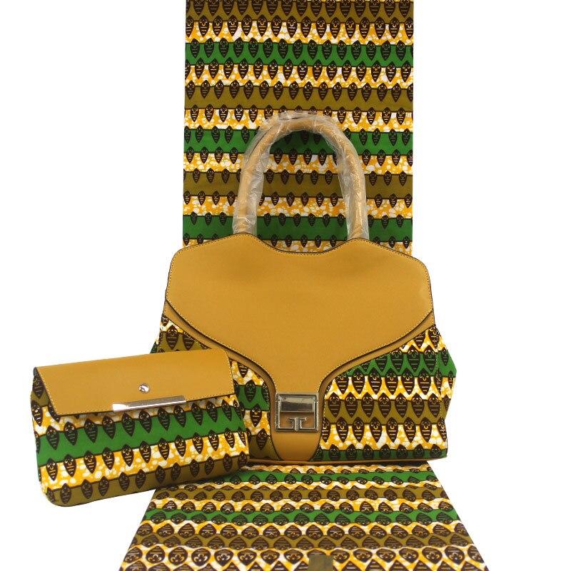 6 yards de coton de cire africaine véritable cire hollandaise match sac en tissu africain et sac à main ensembles tissu Esewing pour robe