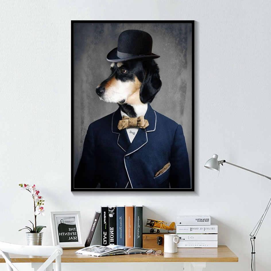 Blanco y negro con clase perro gato Lobo zorro pared pósteres e impresiones artísticos Animal usando un sombrero pluma lienzo pintura decoración del hogar
