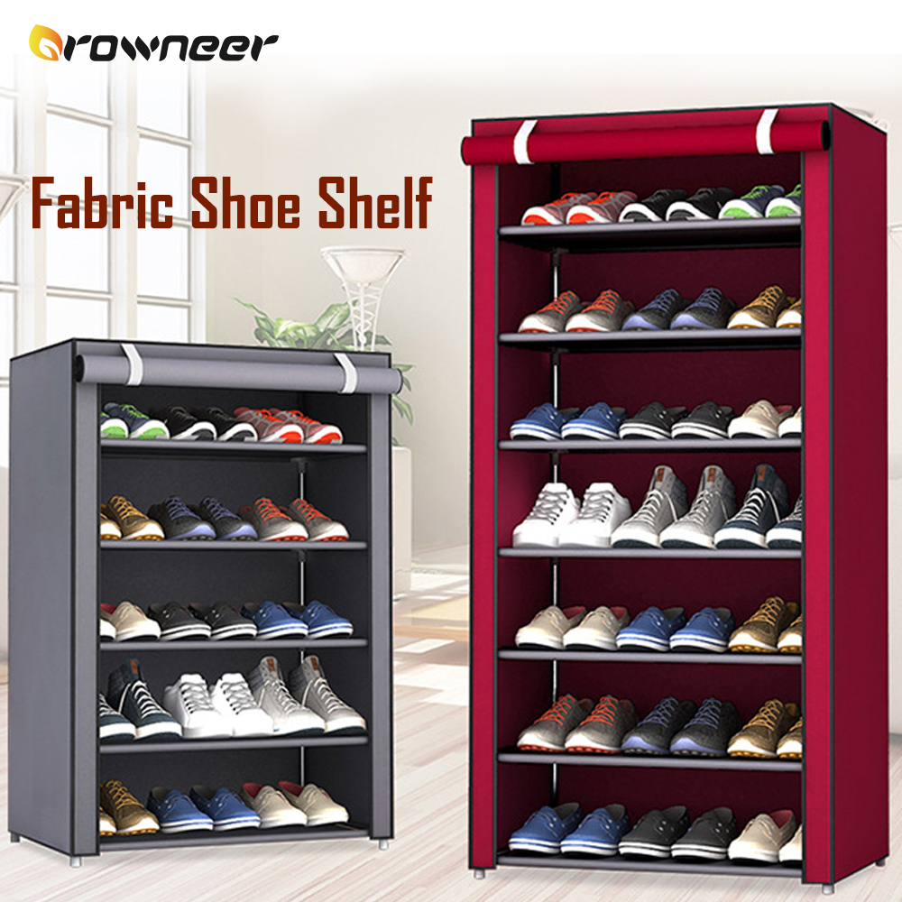 Non Woven Fabric Shoe Shelf Multiple Sizes Gray Wine Coffee Shoes Rack Alloy Enclosed Dust Proof Waterproof Home Storage Holder