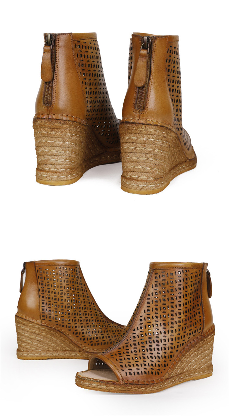 Spring Summer 2020 New Women Wedges Sandals Genuine Leather Peep Toe Hollow Woven High Wedge Heels Shoes Woman High-Top Sandals (15)