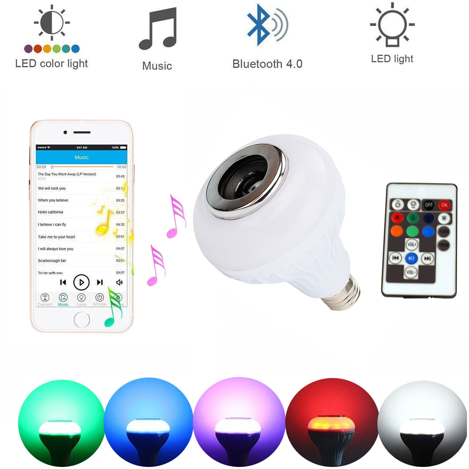 1 X Smart E27 LED RGB Bulb 12W Wireless Bluetooth Speaker Music Playing Audio Dimmable Light Lamp With 17Keys Remote Controllor