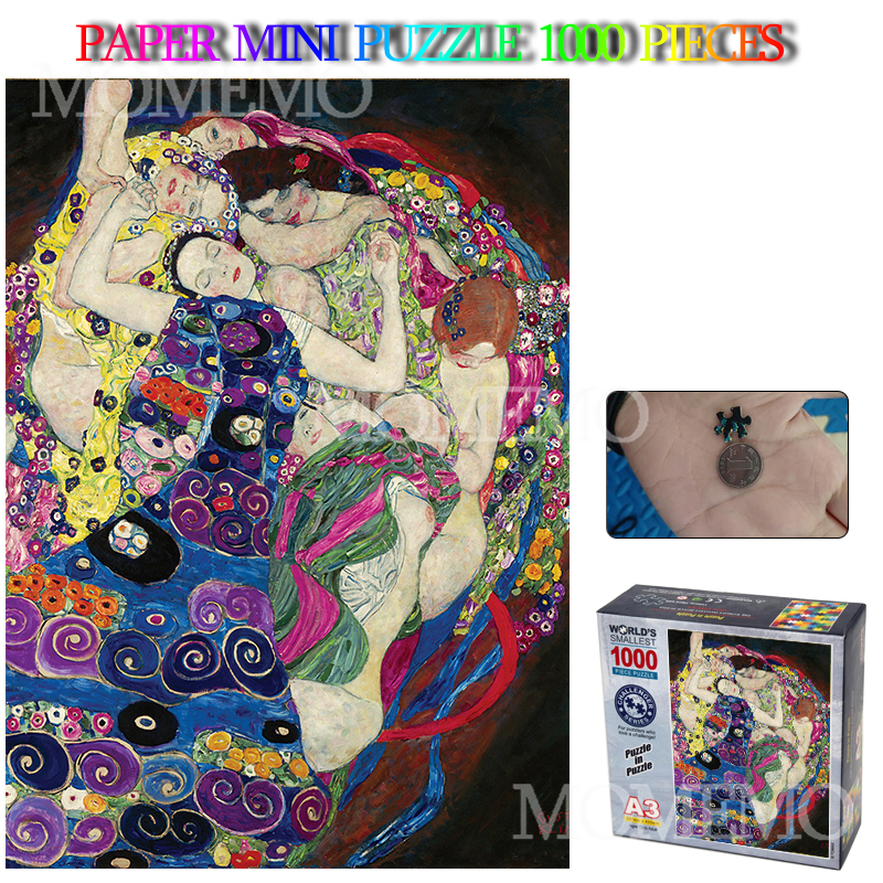Virgin Guvtav Klimt Paper Puzzle Mini 1000 Pieces Jigsaw Puzzle Adults Old Master 1000 Piece Puzzle Toys Home Decoration Gifts