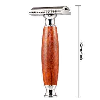 HAWARD Razor Men\'s Vintage Manual Razor Red Rosewood Safety Razor Double-edged Shaver Retro Shaving Razor With 10 Blade