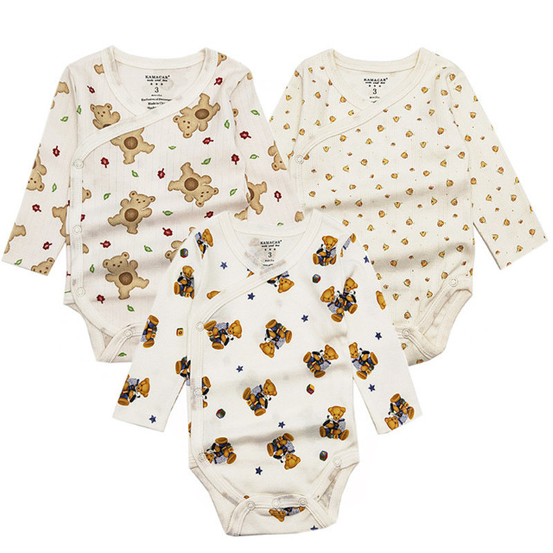 3PCS/lot Baby Bodysuit Newborn Boys Girls Baby Clothing Set Infant Jumpsuits Cotton Baby Clothes Cartoon Long Sleeves Overalls