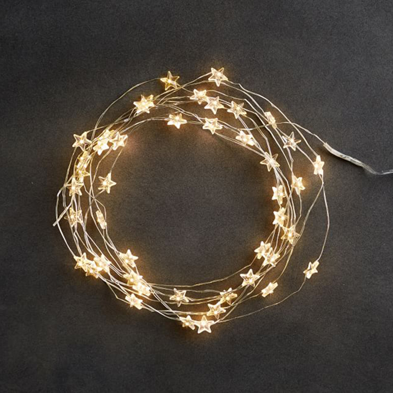 LED 60 Star Fairy Lights Battery Operated On 10ft Long Silver Color Copper Wire String Lights For Outdoor Indoor Xmas Party Use