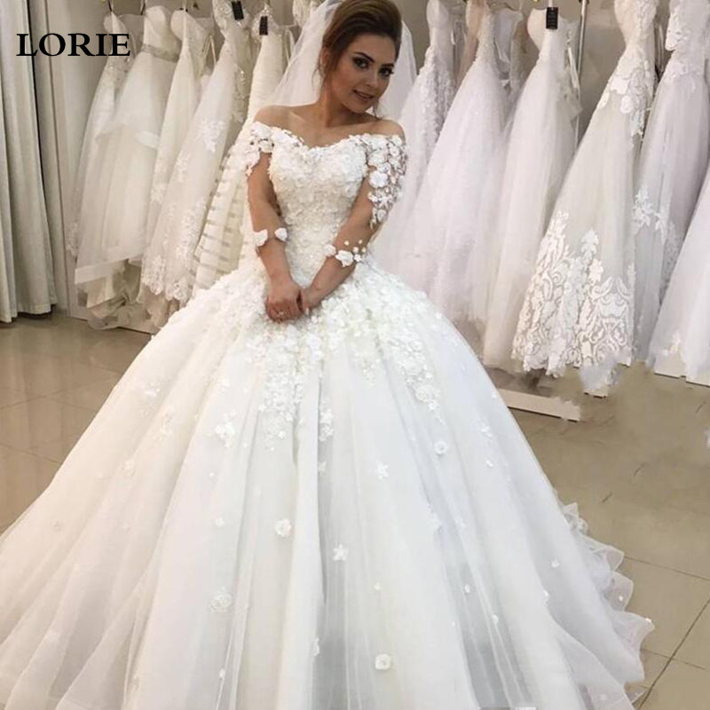 LORIE Princess Wedding Dresses Ball Gowns 3/4 Long Sleeve 3D Flowers Wedding Bride Gowns Elegant Vestidos De Novia