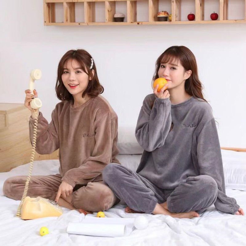 Autumn Winter Warm Flannel Women Pyjamas Sets Thick Coral Velvet Long Sleeve Sleepwearannel Paiamas Set for Gir 18