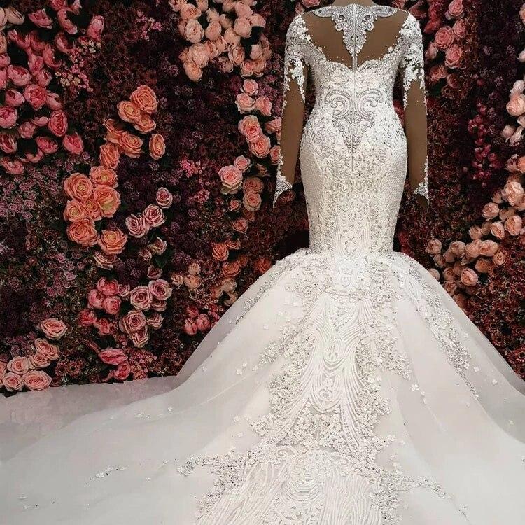Купить с кэшбэком 2020 Top Luxurious Dresses Wedding Dresses Lace Wedding Dresses Vestido De Noiva Mariage Dresses