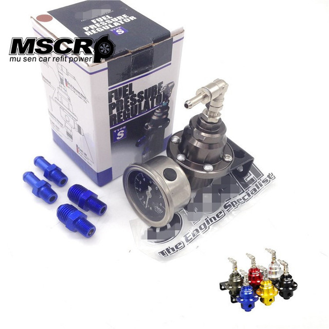 Universal Adjustable Tomei Fuel Pressure Regulator With gauge and instructions(red/blue/gold/silver/black/Titanium)
