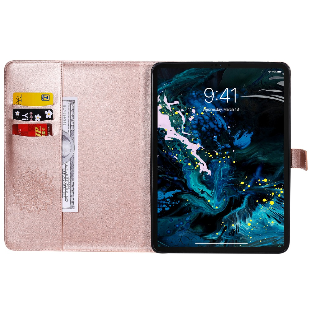 3D for Protective 12 iPad Skin Flower Leather Case Pro 2020 9 Embossed Cover Shell