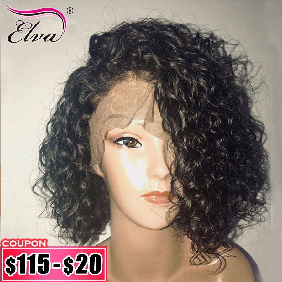 Elva Hair Short Human Hair Bob Wigs For Black Women Curly Lace Front Wigs Pre Plucked With Baby Hair Remy Hair Wigs Bob Wig