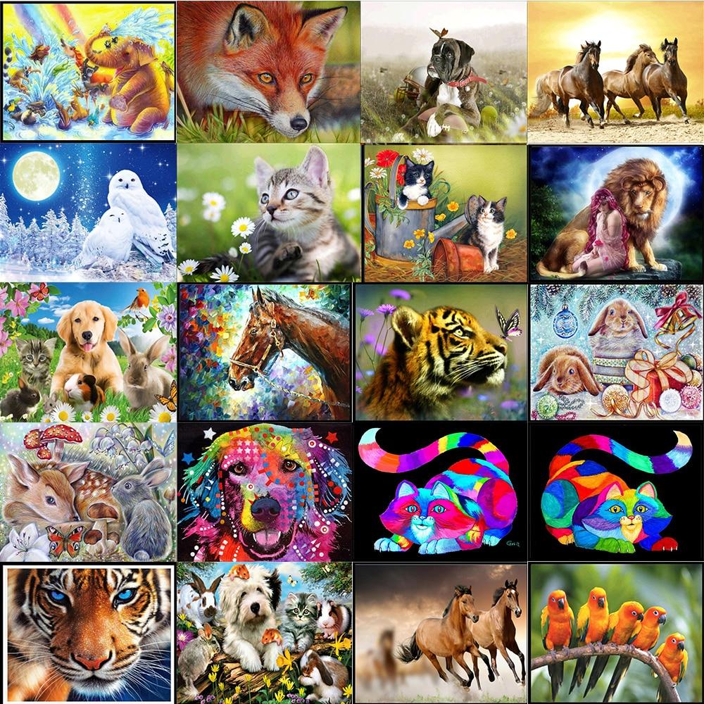 Алмазная 5D картина с животными, полная Алмазная мозаика с рисунком лошади, кошки, собаки, птицы, лисы, Круглая Мозаика, украшение для дома «сд...