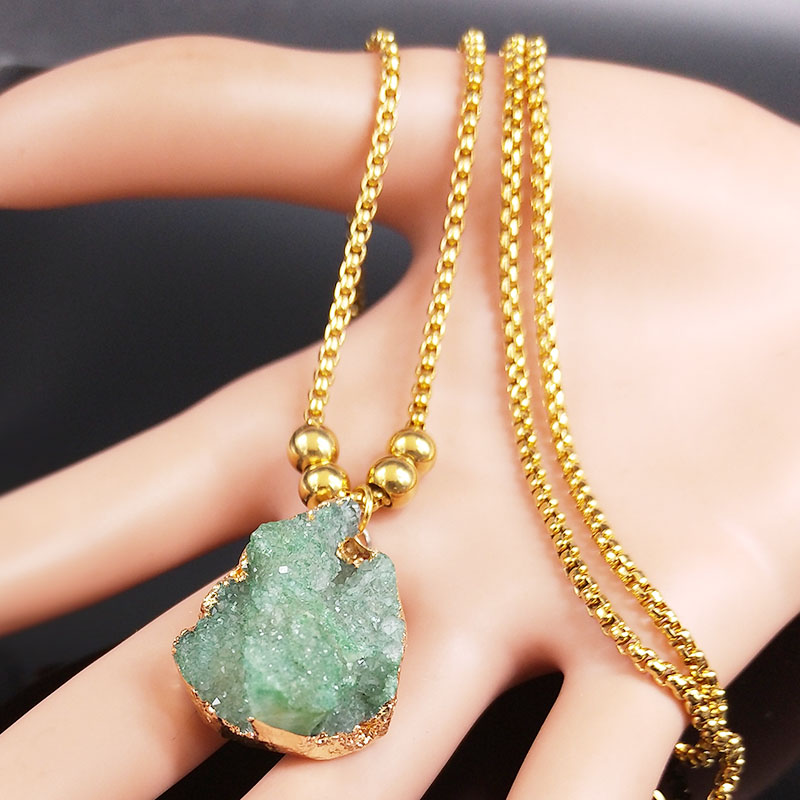 2020 Fashion Green Crystal Stainless Steel Necklace for Women Gold Color Bead Long Statement Necklace Jewelry colgante N20167