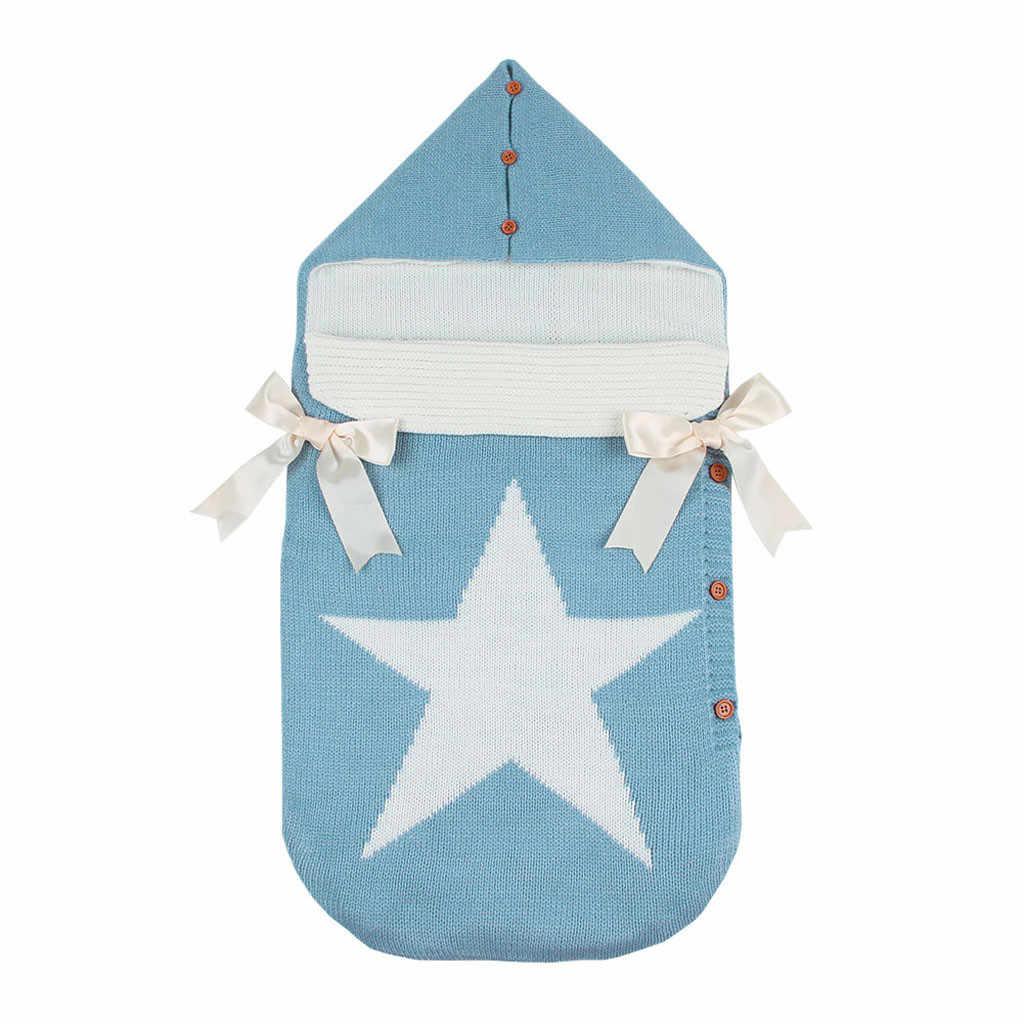 ARLONEET lazo para recién nacidos de punto sueño cochecito de bebé bolsa manta Crochet invierno cálido envoltura gruesa envoltura sacos sobre CA30