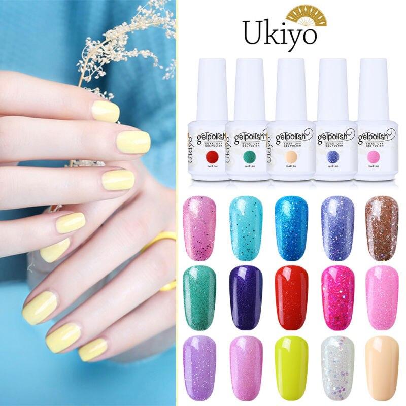 Ukiyo 15ml Gel Nail Polish Glitter Nail Gel Polish Soak Off Candy Color Manicure Lucky Lacquer Enamel Semi Permanent Nail Art