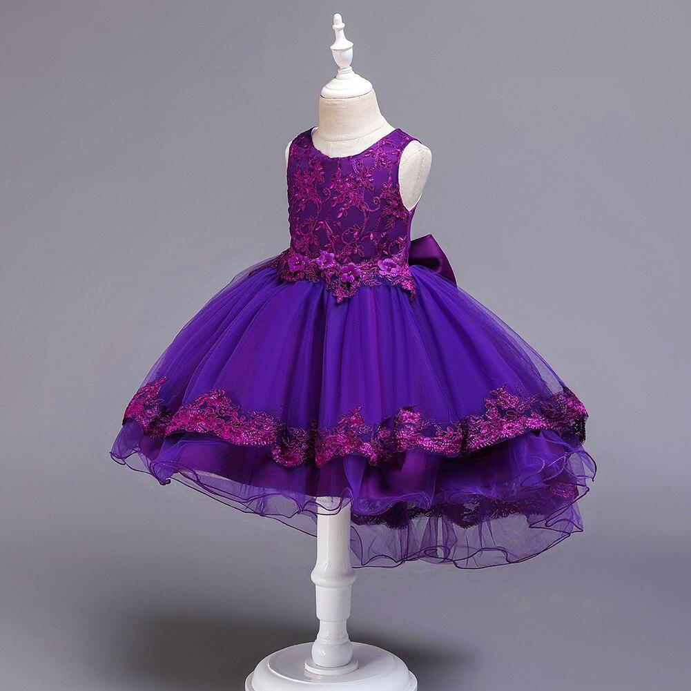 2019 New Style CHILDREN'S Dress Princess Dress Lace Dress Girls Tailing Performance Clothing