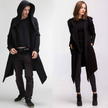 Fashion Men Womens Cardigan Long Jackets Coats Spring Autumn Hooded Cloak Cape Coats Oversize Outwear Unisex Thin image