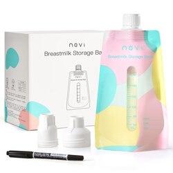 NCVI пакеты для хранения грудного молока с двумя адаптерами-7 унций/200 мл Предварительно стерилизованные, экономия пространства, двойная подк...