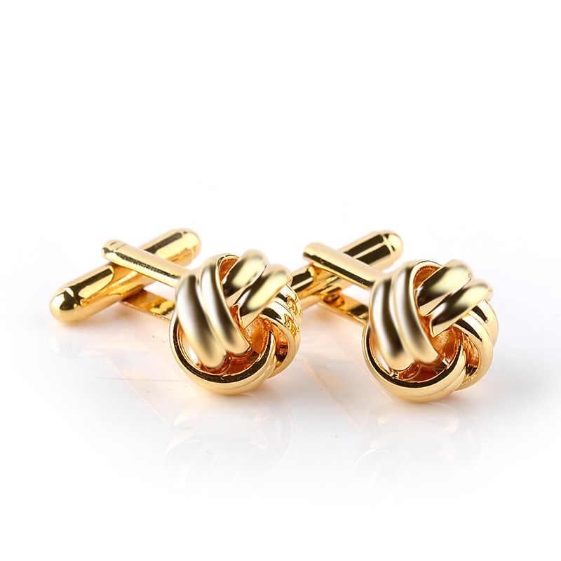 Lucu Sutra Bulat Simpul Manset Perak Emas Hollow Manset untuk Pria Wanita Kemeja Keren Spinki Perhiasan Pria Cufflings Perhiasan