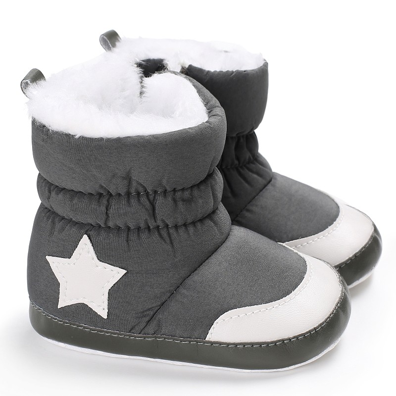 Boys Girls First Plush First Walkers Toddler Infant Sapatos Prewalker Star Print Boots Soft Baby Shoes