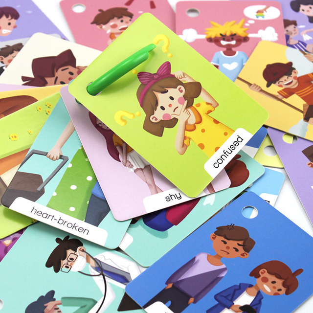 23Pcs Montessori Baby English Emotion Learning Cards Cartoon Flash Cards For Children Early Educational Toy Memory Game For Kids 1