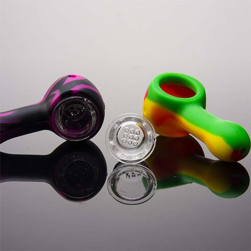 1pcs Silicone Glass Smoking Pipes Random Color Grinder Weed Travel Tobacco Pipes Spoon Unbreakable Cigarette Accessories 4