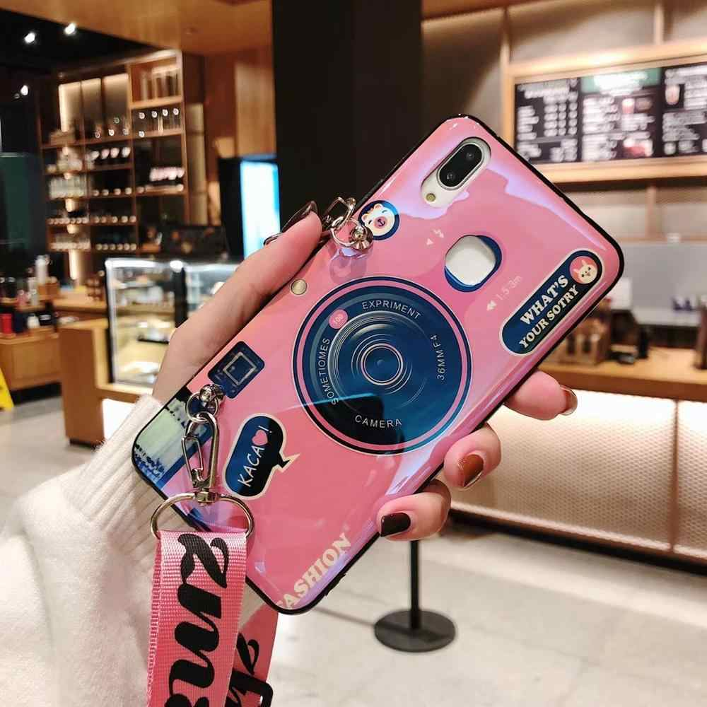 for Samsung Note10 pro Plus 3D Camera phone case for Samsung S7 edge s8 s9 s10 plus j4 j5 j7 prime soft with Lanyard and Bracket