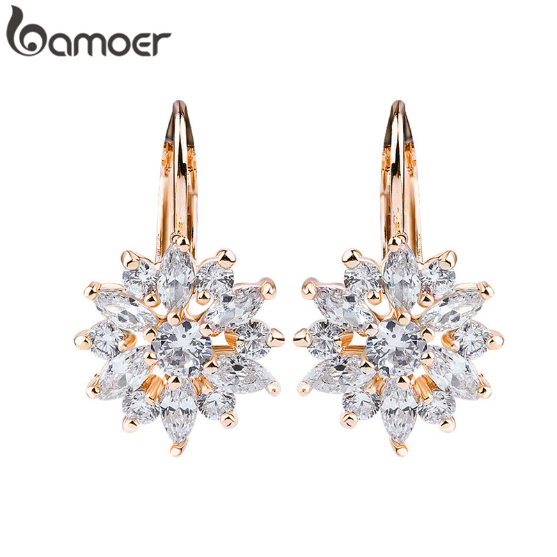 US $2.88 30% OFF|BAMOER 3 Colors Luxury Gold Color Flower Stud Earrings with Zircon Stone Women Birthday Gift Bijouterie JIE014|flower stud earrings|stud earrings|flower stud - AliExpress