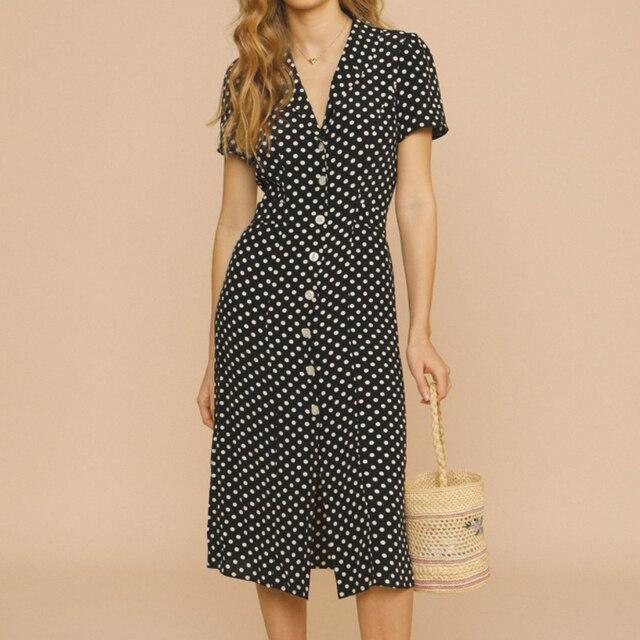 Retro Polka Dot Ladies Dress turn-down collar Single-breasted slim short sleeve women midi dress 2021 new 1