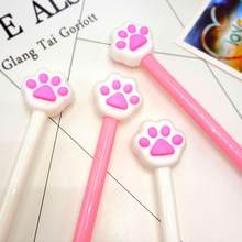 1pcs Cute Bear paw gel pen writing pens children kawaii stationery plastic material office school supplies kids gift(China)