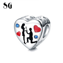 SG 925 Sterling Silver Romantic Heart Charm Red Enamel Blue CZ Man proposes to woman Beads Fit pandora Bracelet Women Jewelry