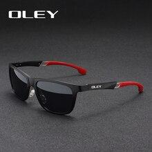 Мужские зеркальные очки OLEY, черные солнцезащитные очки с поляризационными стеклами из алюминиево магниевого сплава, Y7144, 2019