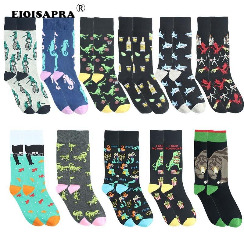 Creative Fashion Hip Hop Streets Tide Socks Men Harajuku Casual Cartoon Dinosaur Shark Animal Funny Socks Breathable Happy Socks