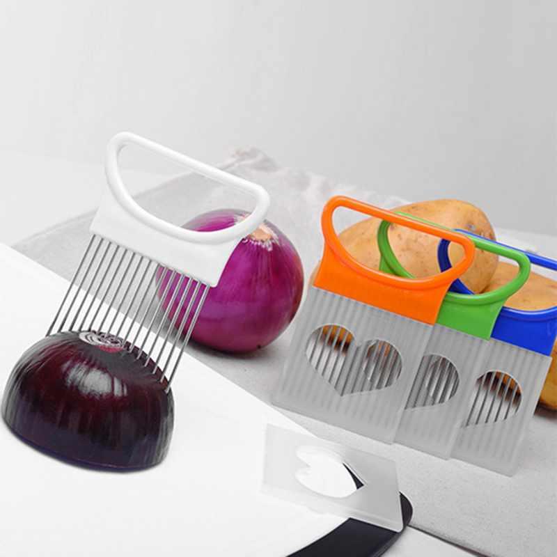 Tomaten Zwiebel Slicer Hilfe Halter Edelstahl Guide Slicing Schneider Küche Shrendders & Aufschnittmaschinen Obst Gemüse Werkzeuge