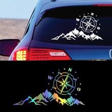 Etiqueta do carro auto bússola árvore montanha suv fora de estrada rv camper carro-estilo veículo decalques reflexivos adesivo decoração acessórios