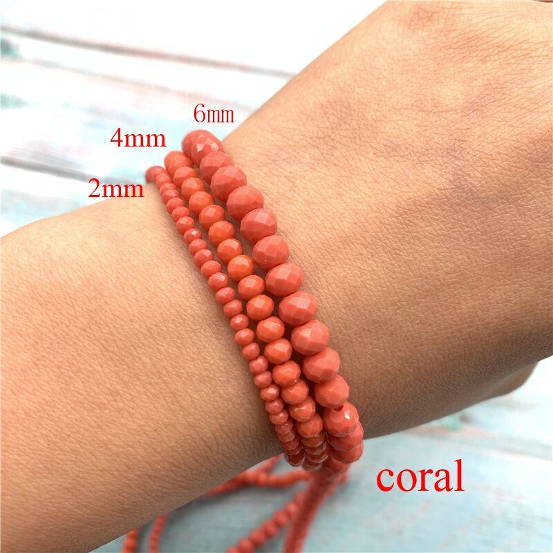 40 цветов 1 нить 2X3 мм/3X4 мм/4X6 мм хрустальные бусины rondelle хрустальные бусины стеклянные бусины для самостоятельного изготовления ювелирных изделий - Цвет: Coral