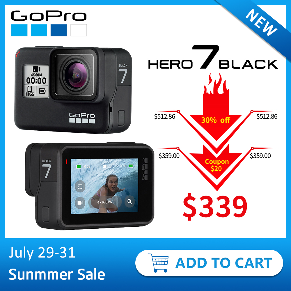 GoPro HERO7 Black Waterproof Action Sports Camera with Touch Screen Go Pro HERO 7 12MP Photos