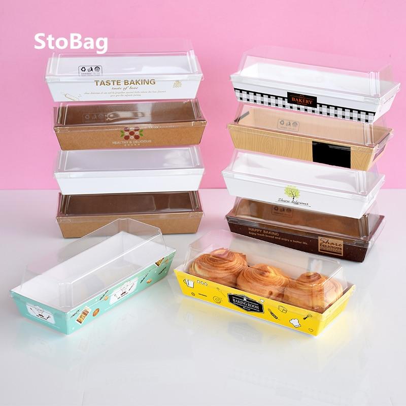StoBag 10pcs Puff Egg Tart Packaging Box Floss Pine Beckham Crab Yolk Crisp Towel Roll Cake Donut Packaging Box Breakfast