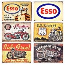 Esso Texaco-Póster decorativo de Metal para motocicleta BSA, cartel en relieve Vintage de Metal con indicador de Ruta 66, para garaje, gasolina