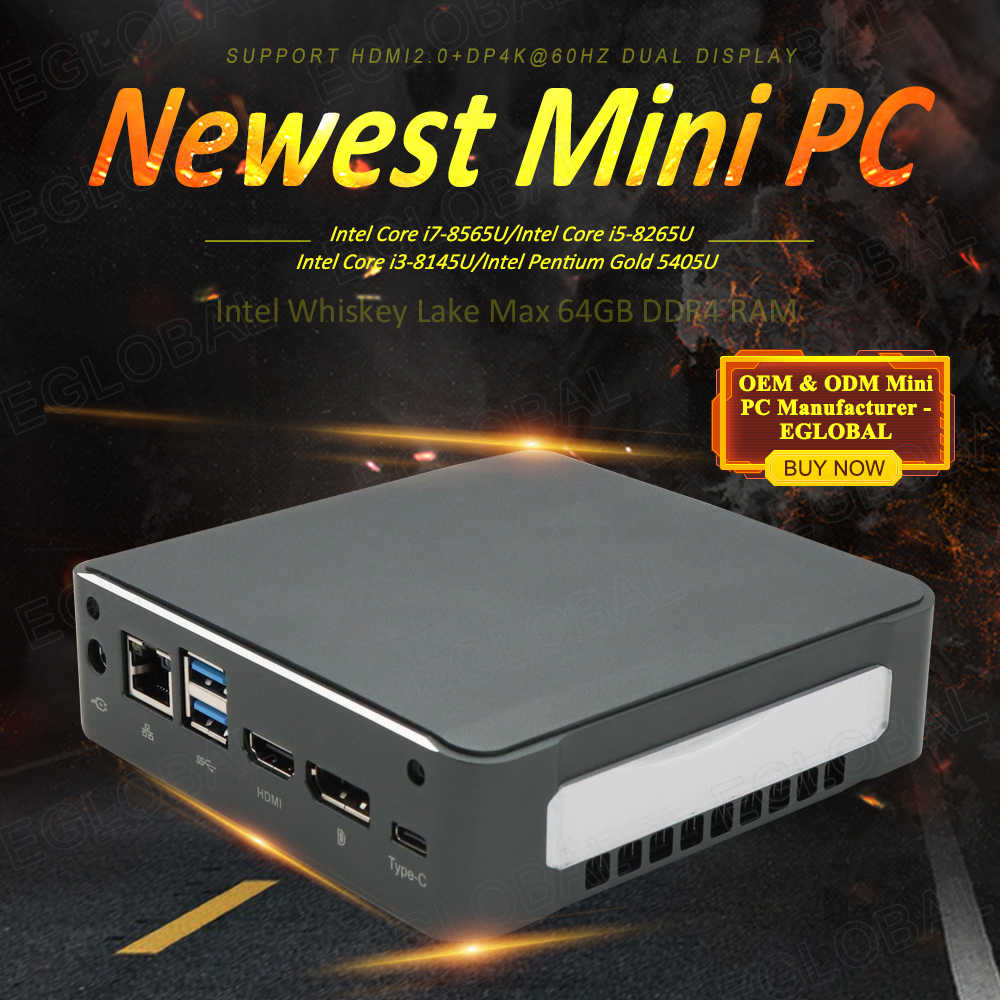 8th Gen Core I5 8265U I7 8565U Terkecil Desktop Mini PC Game Komputer Barebone Tipe-C Vga Dp Lan AC WIFI Bluetooth TV Box