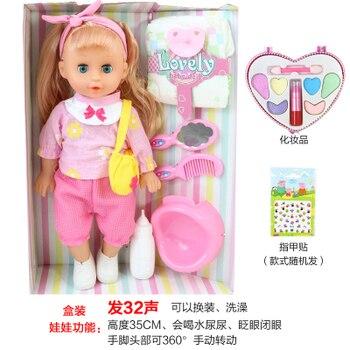 2020 dzieci zabawki interaktywny makijaż lalki dla dzieci 32 CM Mini rozmowa reborn Doll 3D oczy z ubrania buty dla dziewczynek płacz dzieci